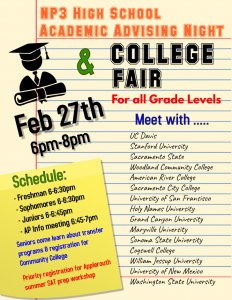College Fair and Academic Advising Night Approaching Fast